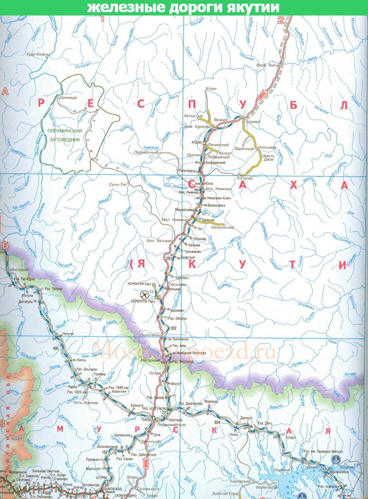 карта железных дорог Якутии